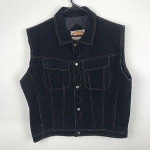 Paragraff XL Snap Button Down Leather Jean Vest